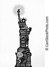 New York city vintage illustration