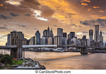 New York City with dramatic cloud cover.