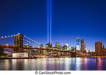 New York City with September 11 Tribute in Light.
