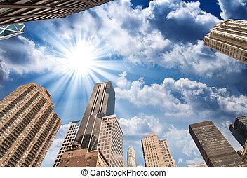 New York City. Wonderful upward view of Manhattan Skycrapers