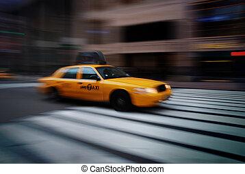 NEW YORK CITY YELLOW CAB - New York yellow cab taxi speeding...