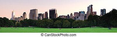 new york city, zentraler park, an, dämmerung, panorama