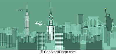 New York cityscape - Buildings in a city, New York City, New...