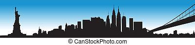New York cityscape - Vector of the New York skyline on blue...