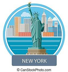 Statue of Liberty, New York City - New york cityscape. ...