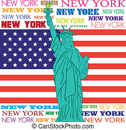 new york - statue of liberty over flag of united states and...