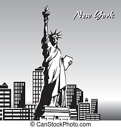 new york - vector black and white image of the Statue of...