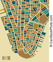 New York colorful city plan