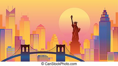 New York Colourful Background, Urban Skyline