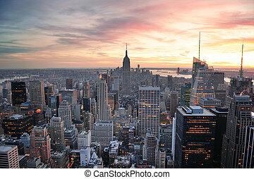 new york, coucher soleil