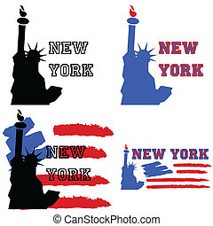 Concept set of illustrations about New York, with the Statue of Liberty and other elements like a stylized US flag
