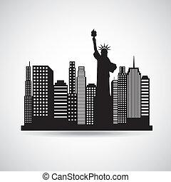 new york design over gray background vector illustration