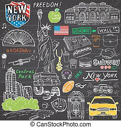New York city doodles elements. Hand drawn set with, taxi, coffee, hotdog, statue of liberty, broadway, music, coffee, newspaper, museum, central park. Drawing doodle collection, on chalkboard