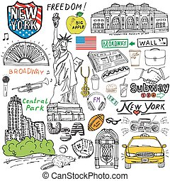 New York doodles elements. sketch