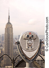 new york empire - view from rockefeller center, binoculars...