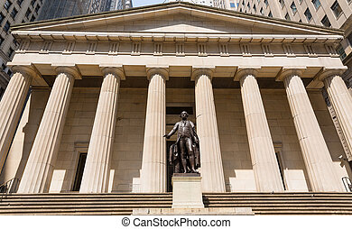 New York Federal hall Memorial George Washington Statue US