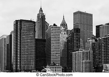 skyline of the financial district of lower Manhattan.