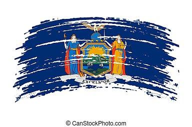 New York flag in grunge brush stroke, vector