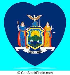 New York Flag In Heart Shape Of The Us State Of New York Vector illustration Eps 10