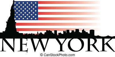 New York flag - New York with USA flag