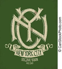 new york, grunge, t-shirt, impression, conception