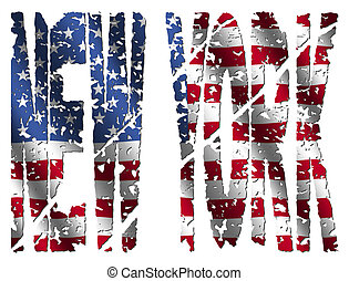 New York grunge text with flag