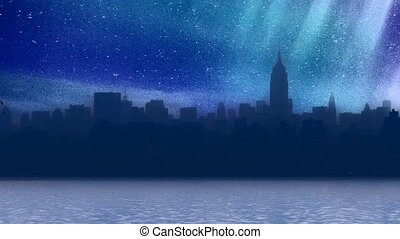 New York harbor at starry night