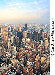 new york, horizon manhattan, vue aérienne