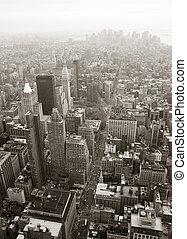 new york, horizon manhattan, vue aérienne, noir blanc