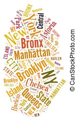 New York. - Illustration with word cloud over the city of...
