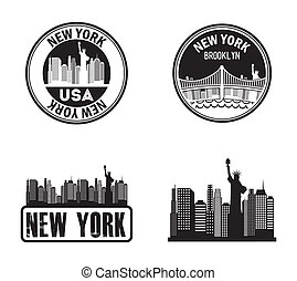 New York stamps on whiate background, vector illustration