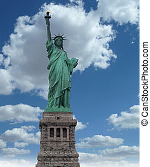 New York, Jun 13: Statue of Liberty at the entrance of the harbor in front of Manhattan.