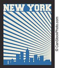 New York label - New York city concept, logo, label. Word...