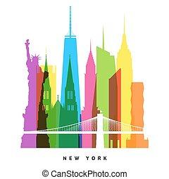 New York landmarks bright collage illustration