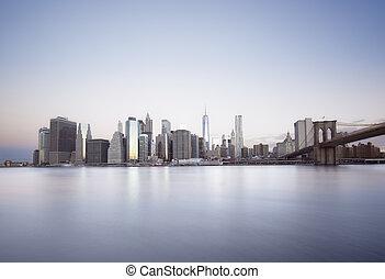 new york, levers de soleil, ville