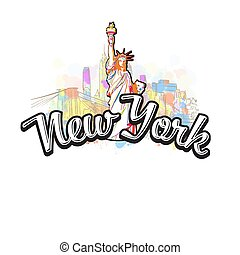 New York Liberty Statue Drawing with Headline