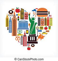 new york, liefde, -, hart gedaante, met, velen, vector, iconen