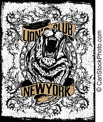 new york lion t-shirt graphic