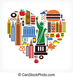 New York love - heart shape with many vector icons - New ...