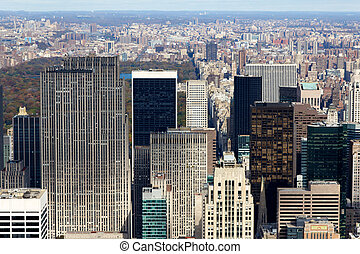 New York Manattan View Uptown Past Central Park