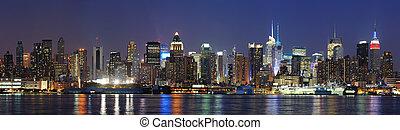 new york, manhattan crépuscule