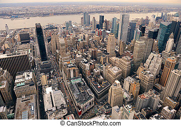 new york, manhattan, rue, vue aérienne