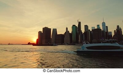 New York Manhattan sunset view - View of Manhattan downtown...