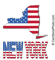 New York map flag and text