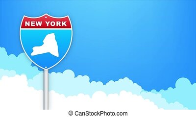 New York map on road sign. Welcome to State of Louisiana. Motion graphics