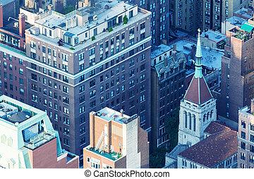 New York, Midtown Manhattan aerial view of old city buildings