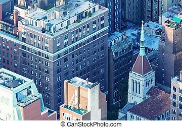 New York, Midtown Manhattan aerial view of old city buildings