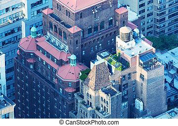 new york, midtown manhattan, felülnézet, közül, öreg város, épületek