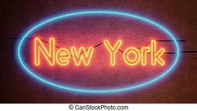 New York neon sign depicts Manhattan in NYC America. The Big Apple includes Brooklyn and 7th Avenue - 4k