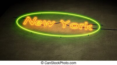 New York neon sign depicts Manhattan in NYC Usa. The Big Apple includes Brooklyn and 7th Avenue - 4k